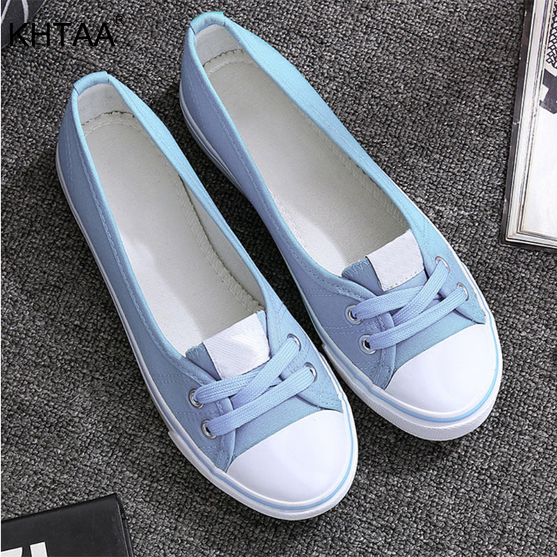 KHTAA Women Canvas Shoes Shallow Flat Vulcanized Shoes Fashion Comfortable Lace-Up Casual Breathable White Black Shoes Female