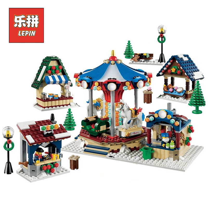 Lepin 36010 1412Pcs Winter Village Market Set for Children Educational Building Blocks Bricks Toys Compatible LegoINGlys 10235 lepin 36010 genuine creative series the winter village market set legoing 10235 building blocks bricks educational toys as gift