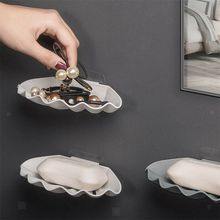 Shell Shaped Soap Dish Self-Adhesive Double Layers Tray ABS Plastic