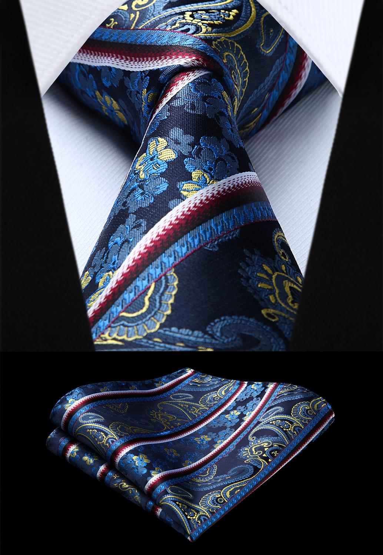 Party Wedding Classic Fashion Pocket Square Tie Woven Men Blue Red Tie Floral Necktie Handkerchief Set#TF813V8S