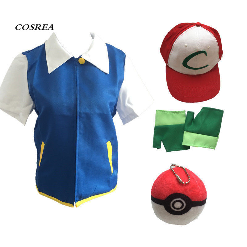 High Quality Pokemon Ash Ketchum Cosplay Costumes Pocket Monster Cosplay Blue Jacket + Gloves + Hat + Ash Ketchum Ball