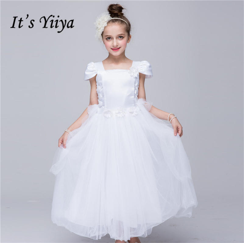 It's yiiya Fashion Cap Sleeve   Flower     Girl     Dresses   Pure Color Princess Ball Grown O-neck   Girls     Dress   TS159