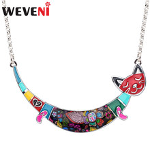 WEVENI Enamel Alloy Happy Cat Necklace Chain Choker Cute Animal Jewelry For Women Girls Teens Pet Lovers Accessories Wholesale(China)
