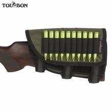 Tourbon Gun Butt Stock Cheek Rest Tactical Left Handed Non-slip Padded Rifle Shell Pouch 10 Cartridges Holder Hunting Accessory