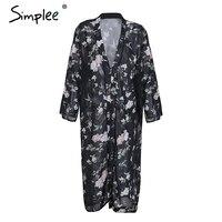 Simplee Floral Print Chiffon Kimono Cardigan Women Streetwear Casual Long Cardigan Summer Beach Boho Blouse Blusas