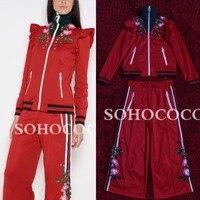 Элитный бренд одежда с вышивкой Горячая распродажа; женская обувь модная водолазка рябить куртка красного хлопка брюки набор стритстайл