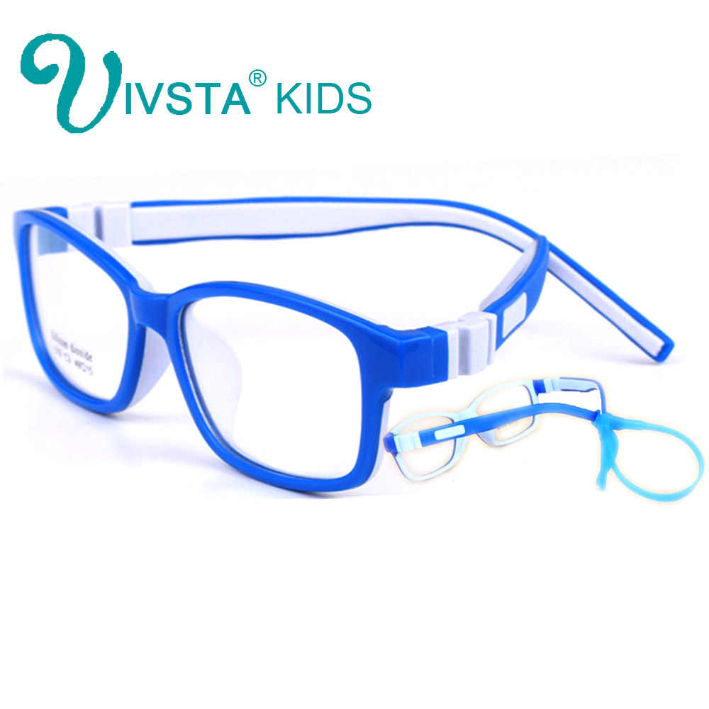 IVSTA 519 Silicone Dioxide Girls Eyeglasses 49-15 TR90 Kids Prescription Glasses Frame with retainer strap prescription