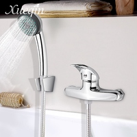 Xueqin Free Shipping Bathroom Bath Shower Faucet Sets Hand Held ABS Round Shower Head Shower Holder