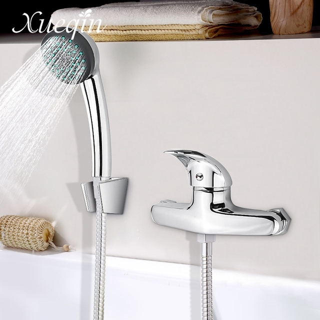 Xueqin Bathroom Bath Shower Faucet Sets Hand Held ABS Round Shower ...