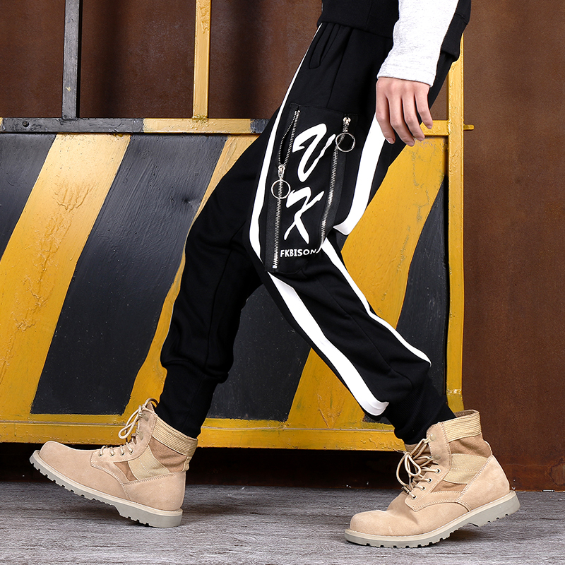 Street Men and Women Hip Hop Street Sweatpants Fashion Harem Pants Punk Skateboard Letters Zipper Trousers