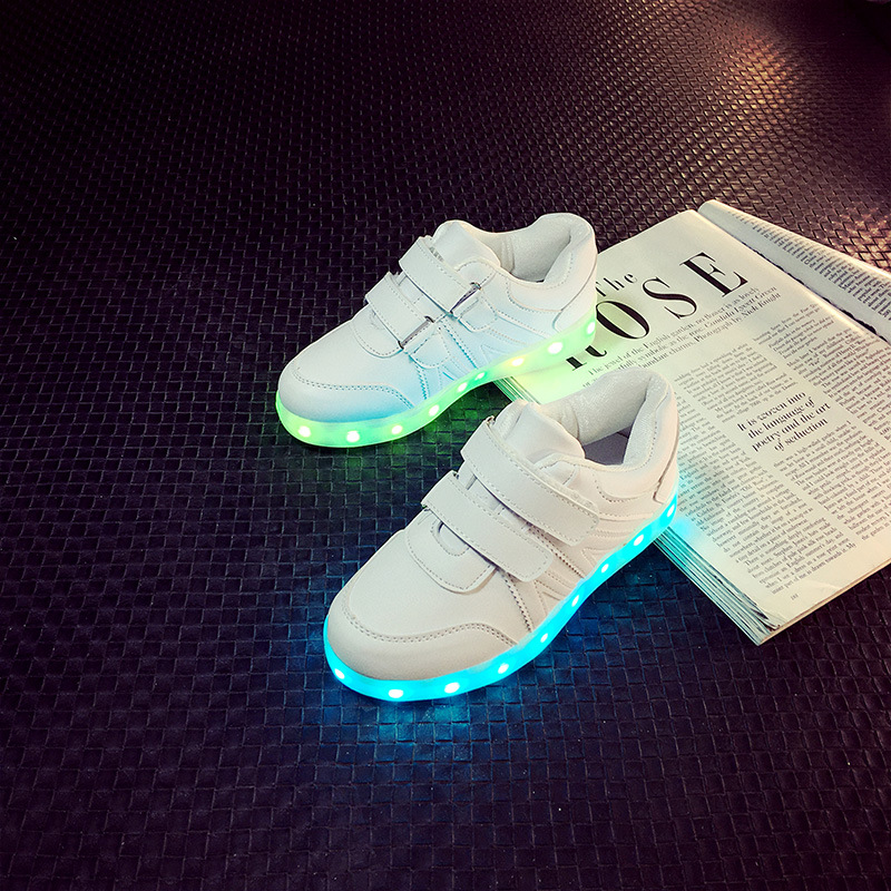 7 Colors Kid Luminous Sneakers Glowing USB Charge Girls LED Shoes with Light Soles Boy Casual Footwear White