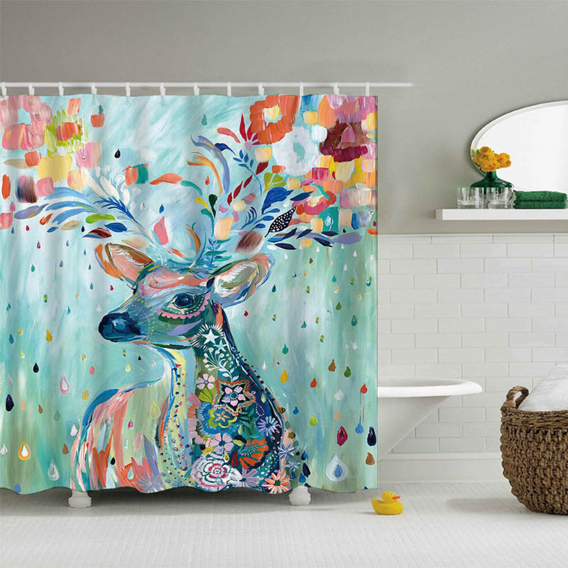 Waterproof Sika Deer Pattern Polyester Fabric Shower Curtain Washable Bath Decor Eco-friendly 1 PCS Bathroom Curtains