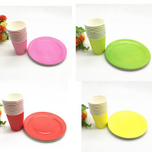 20pcs Candy Colors Party Theme Plates Birthday Wedding Decoration Paper Straws/Cups