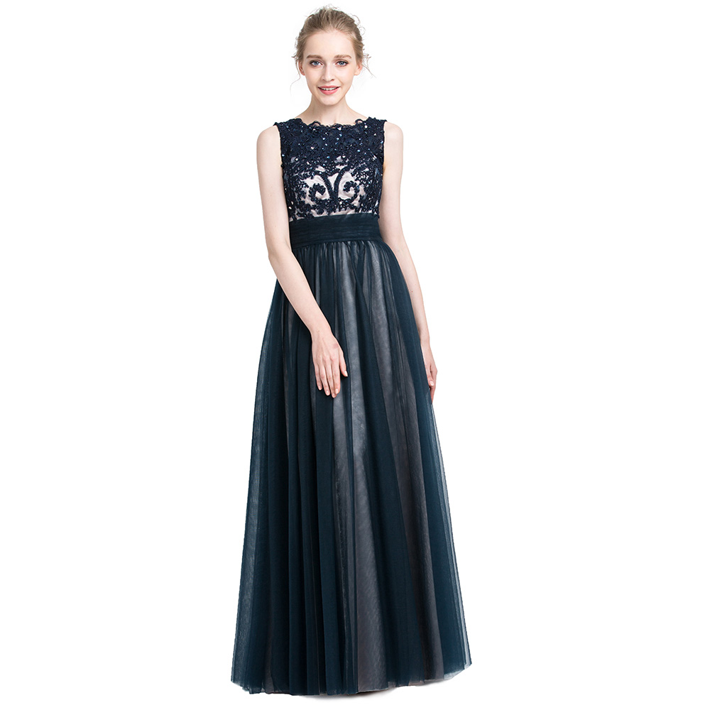 BeryLove A Line Navy Blue Evening Dresses 2018 Beaded Lace Evening Gowns  Plus Size Long Prom Dresses Formal Dress Party Gowns-in Evening Dresses  from ... 4b4e7e065de5