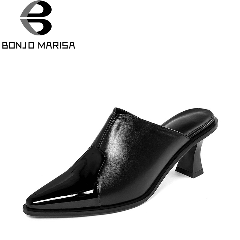 BONJOMARISA 2018 Summer New Brand Genuine Leather Mules Fashion Patent Pointed Toe Shoes Woman slip-on High Heels Pumps bonjomarisa 2018 summer brand sexy women mules print patent leather pumps crystal high heels party wedding shoes woman