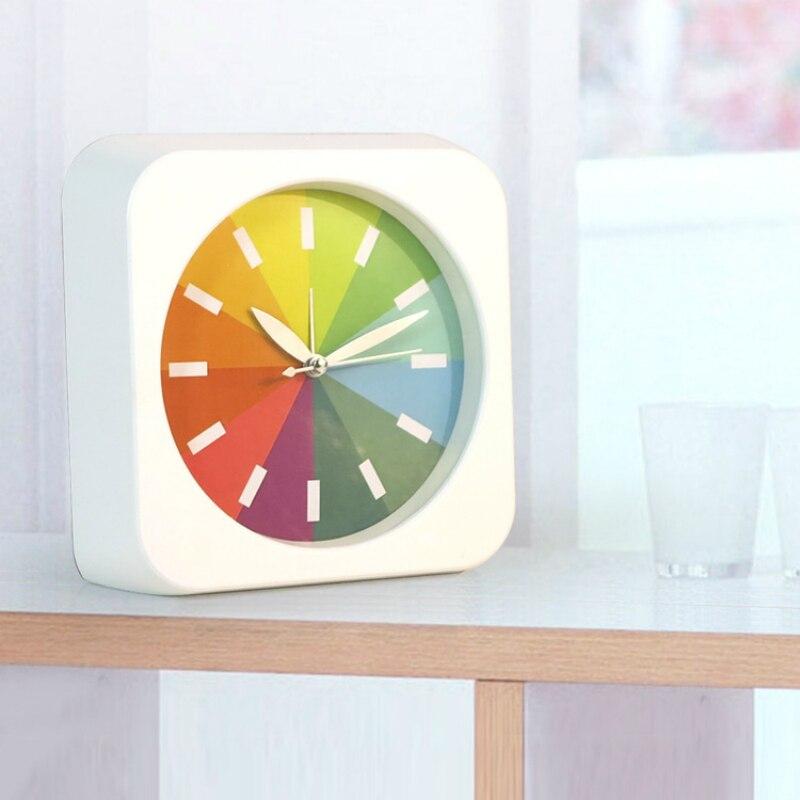 Fashion rainbow small ultra quiet alarm clock creative for Minimalist alarm clock