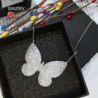 SINZRY Brand Micro Paved Cubic Zircon Pendant Necklaces Clear White Butterfly Brilliant Chokers Necklaces For Women