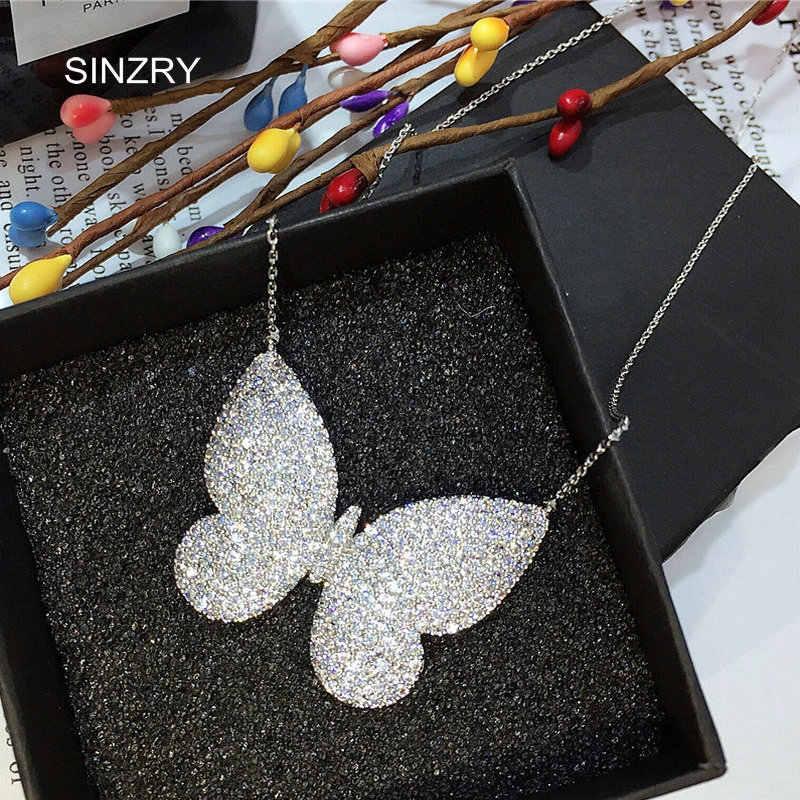 قلادة ماركة SINZRY مرصعة بالزركونيوم المكعّب الصغيرة قلادات شفافة بيضاء على شكل فراشة قلادة رائعة للنساء