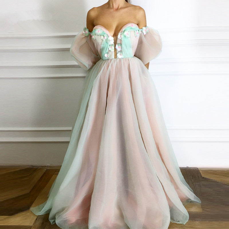 Formal Evening Dresses 2019 A line Sweetheart Tulle Flowers Pearls Elegant Islamic Dubai Kaftan Saudi Arabic