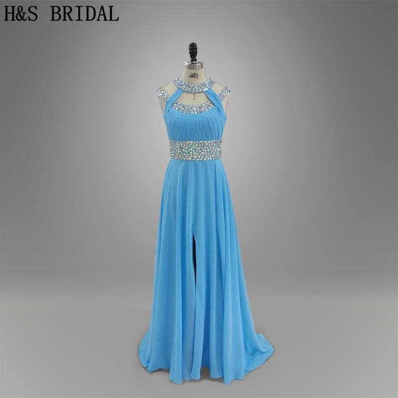 Photo réelle licou dos nu avant fente bleu robe de soirée longue conception spéciale robe de soirée en mousseline de soie