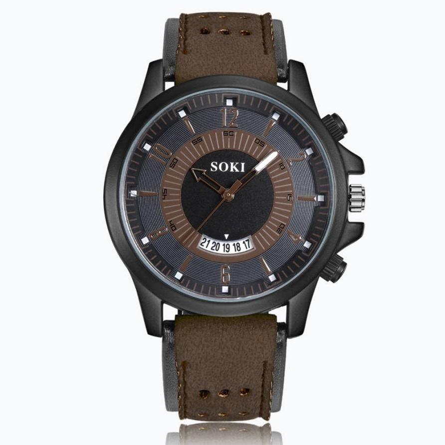 2018 Prawdziwy Top Sprzedaży Luksusowa Moda Żel krzemionkowy Skóra - Męskie zegarki - Zdjęcie 2