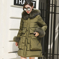 High quality large raccoon fur collar hooded 2016 Winter Jacket Coat Women's Duck Down Parkas Army Green Warm Clothing