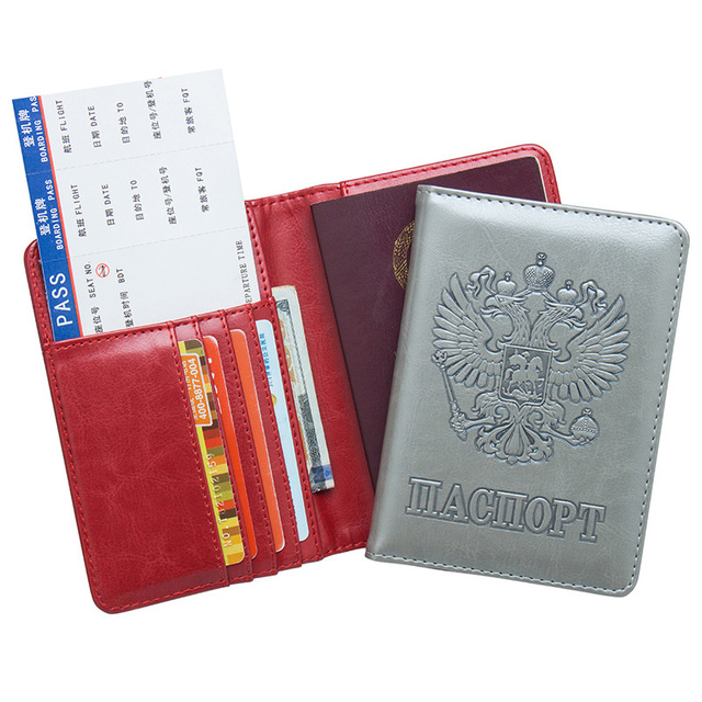eddf64b8c579 US $4.83 49% OFF|Russian Passport Holder Cover Wallet RFID Blocking PU  Leather ID Credit Card Holder Case Russia Travel Document Organizer-in Card  & ...