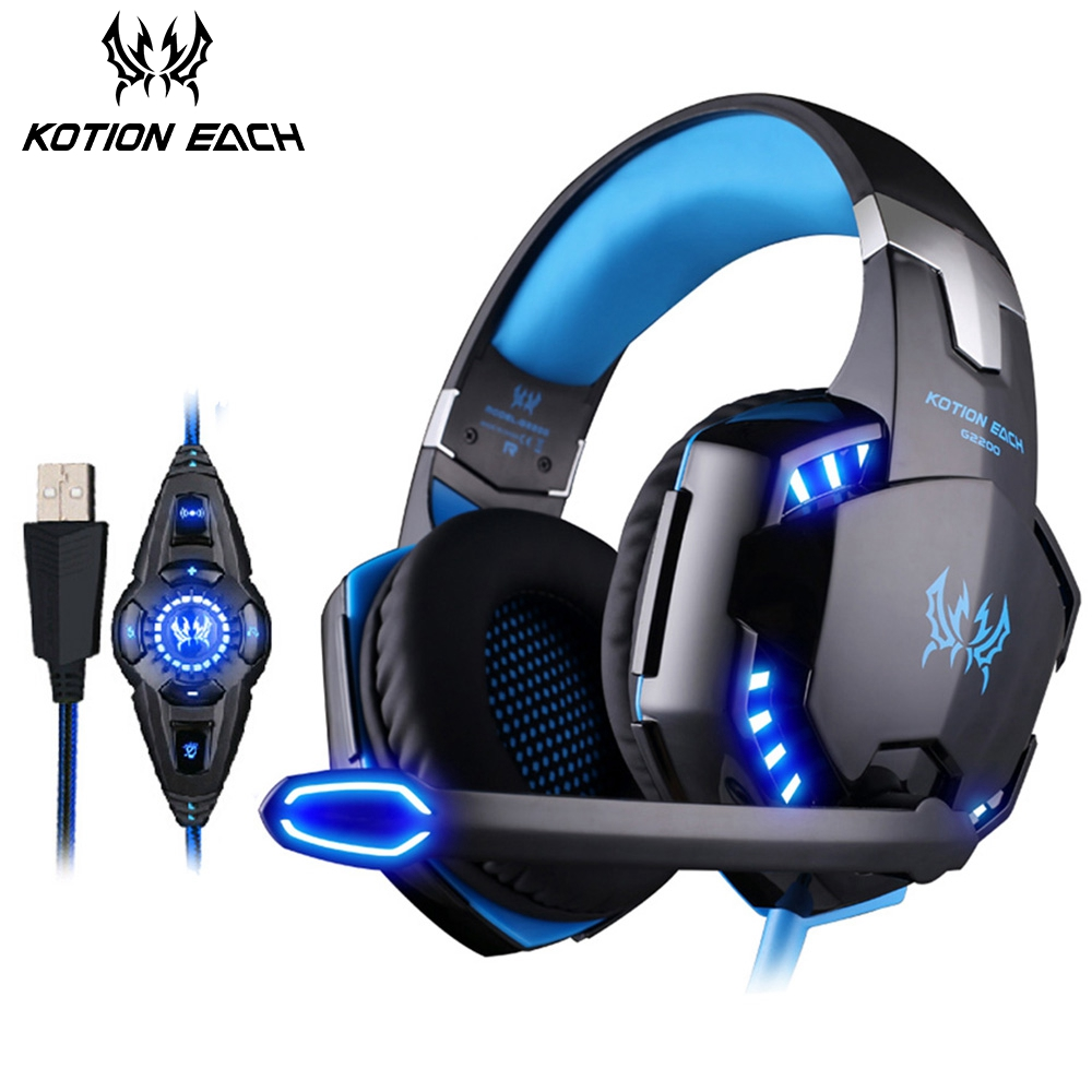 KOTION EACH G2200 Gaming Headphones With Microphone Noise Cancelling USB 7.1 Surround Sound Vibration Headsets For PC Computer цена 2017