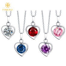 2018 New FINE4U N020 316L Stainless Steel Heart Pendant Necklace Round Cubic Zirconia Necklaces For Women Wedding Party Jewelry(China)