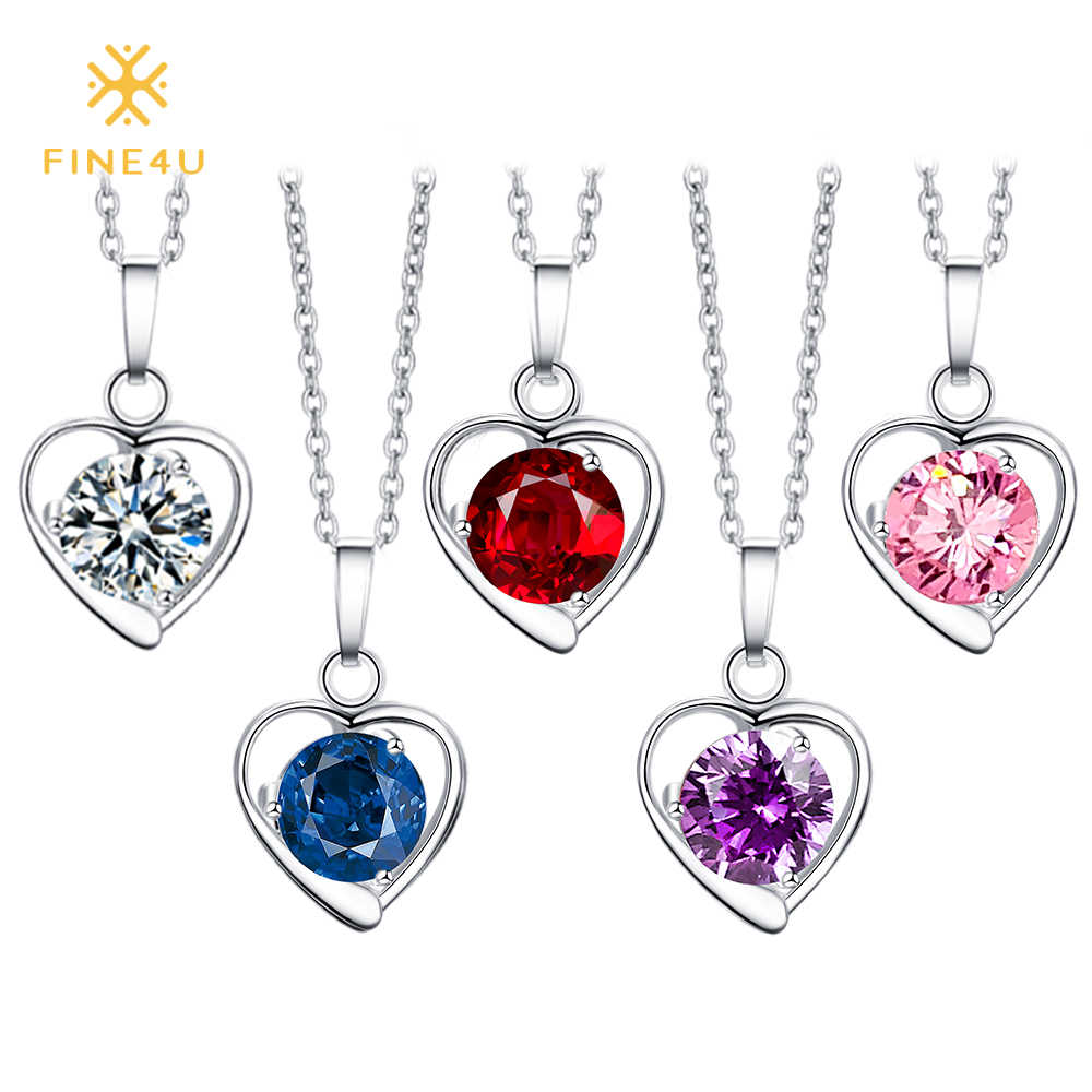 2018 New FINE4U N020 316L Stainless Steel Heart Pendant Necklace Round Cubic Zirconia Necklaces For Women Wedding Party Jewelry