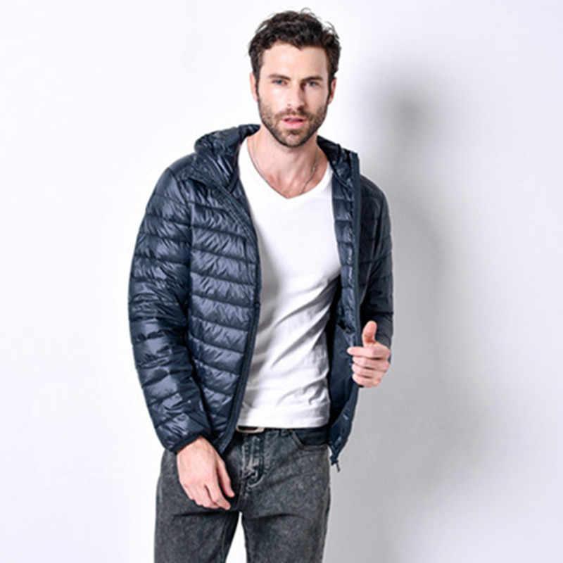 2019 новый модный бренд; белый пуховик на утином пуху Куртки мужские осень зимнее теплое пальто Для мужчин сверхлегкие куртки-пуховики на утином пуху Мужской не продуваемые куртки-парки