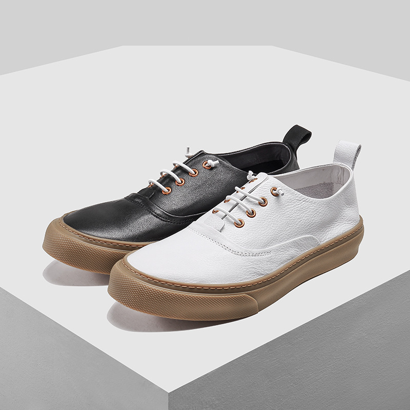 ของแท้หนัง breathable แบนด้านล่างแฟชั่น casual รองเท้าผู้ชายอังกฤษ retro cowhide รองเท้าผ้าใบรองเท้าผู้ชายรองเท้าฤดูใบไม้ผลิ-ใน รองเท้าลำลองของผู้ชาย จาก รองเท้า บน   2