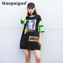 Loose Print Letter Musick Hip Hop Ladies Dresses O-neck Short Sleeve Fashion T Shirt Dress for Female with Zipper Contrast Dress contrast letter print pocket camo t shirt