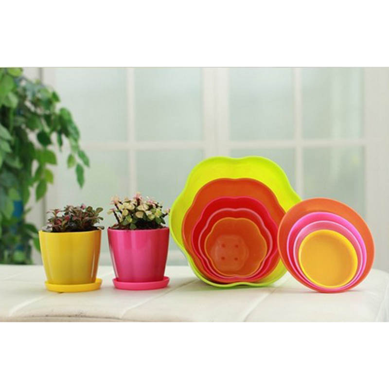 Flower Pot PP plastic Succulent Plant Flowerpot  9 Colors flower pots with tray Garden Supplies Home Decoration Free Shipping