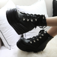XIUNINGYAN Mujer Fashion Platform Shoes Women 2018 Punk Black Gothic Ankle Boots Womens Platform Wedge Lace Up Motorcycle Boots