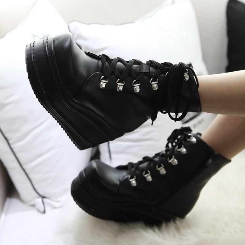XIUNINGYAN Mujer Mode Plate-Forme Chaussures Femmes 2018 Punk Noir Gothique Cheville Bottes Plate-Forme Des Femmes Wedge Lace Up Moto Bottes