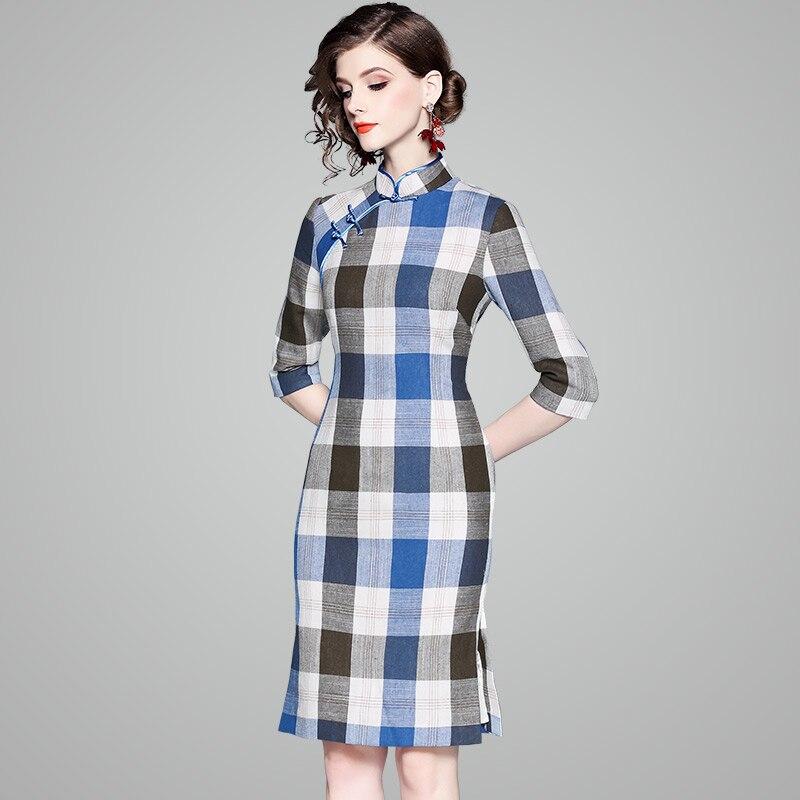 Genou longueur Qipao chinois robe traditionnelle chinoise vêtements Vintage mode douce fille Plaid Cheongsams femmes robes Vestidos