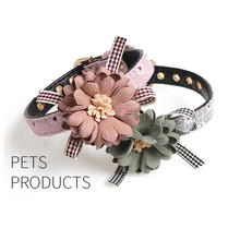 HELLOMOON basic S M L flower collar 5 colors and leash traction set dog pet collars