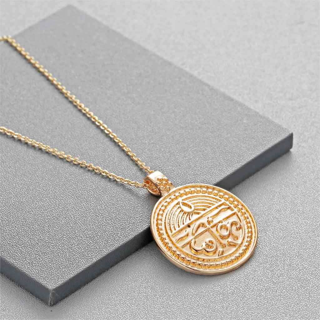 ערבית תכשיטי שרשרת לולאות נשים זהב כסף סנסקריט מטבע עבור טובה בריאות רוחני קסם תליון שרשרת
