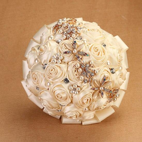 Высокое Качество Свадебные Аксессуары Свадебные Букеты Искусственные Розы Цветок Брошь Невеста букет Кристалл Свадебный Букет A0019