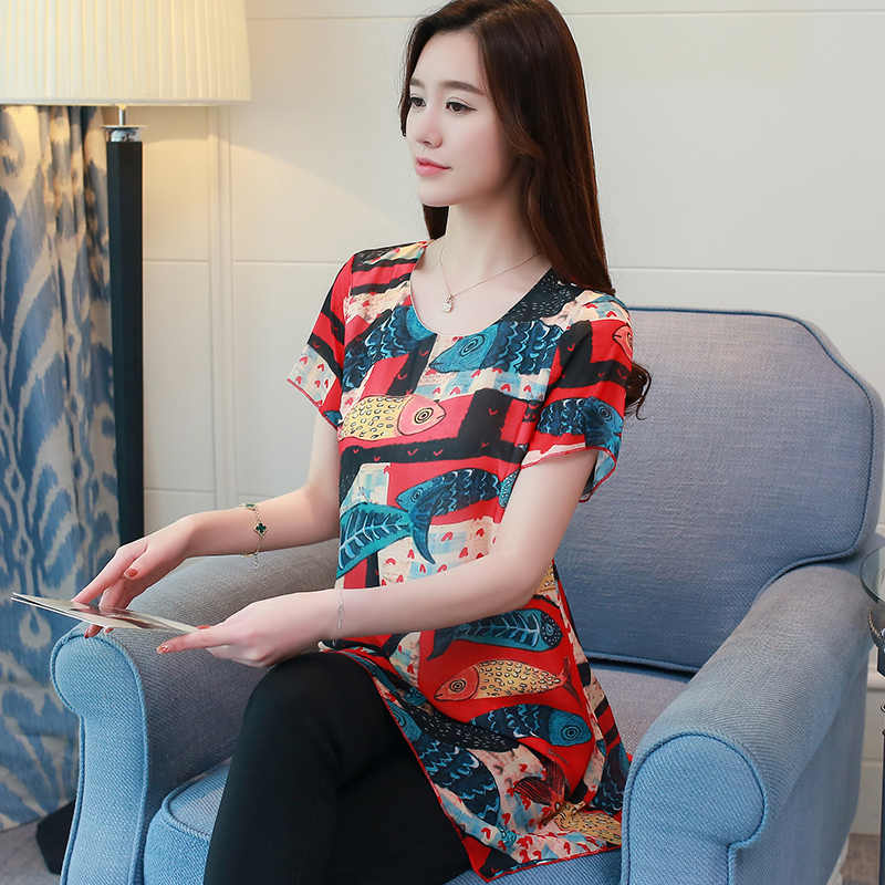 f8c4698b133 ... new fashion plus size 4XL chiffon women blouse shirt short sleeve summer  tops print chiffon blouse ...