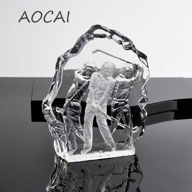 AOCAI Kristall Golf Statue Können Gravur Wohnkultur Dekoration Handwerk  Geschenk Box Verpackung