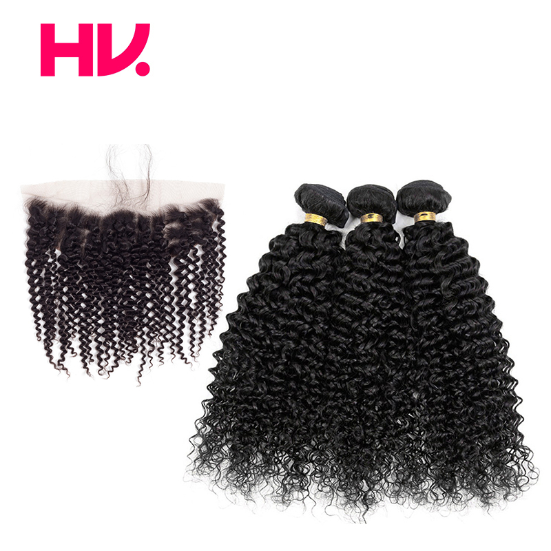 Pre Colored bundles with frontal Kinky Curly 1B Non remy Brazilian hair weave bundles