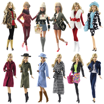 NK One Set Doll Dress Fashion Uniforms Cool Winter Clothing Super Model Coat For Barbie Doll Accessories Girl Gift Toys  A1 JJ 2