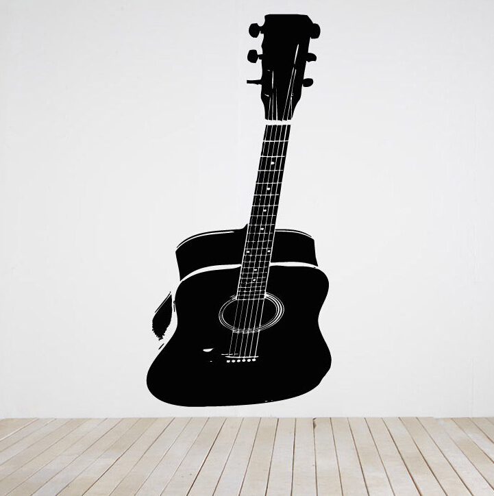 Large Size Guitar Wall Stickers Room Decor Art Vinyl Decal Sticker Mural Acoustic Big Home Decoration D179 In From Garden