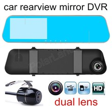 Big discount free shipping Car Blue Rearview Mirror DVR Full HD Digital Video Recorder With Two Cameras Dash Cam Black Box camcorder