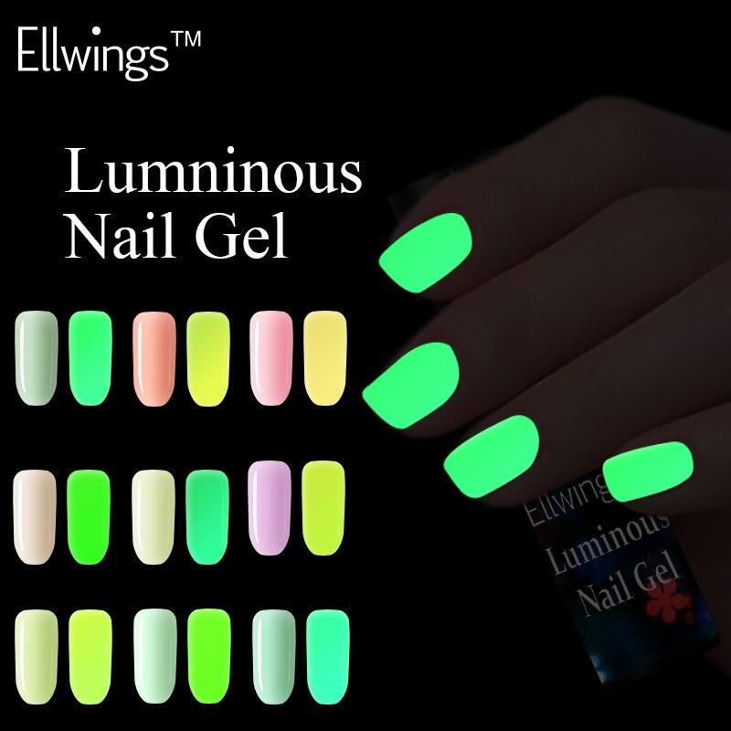 Ellwings Glow In Dark Fluorescent Neon Luminous Uv Nail Gel 20 Colors Soak Off Gel Varnish Lighting In Night Gel Nail Polish
