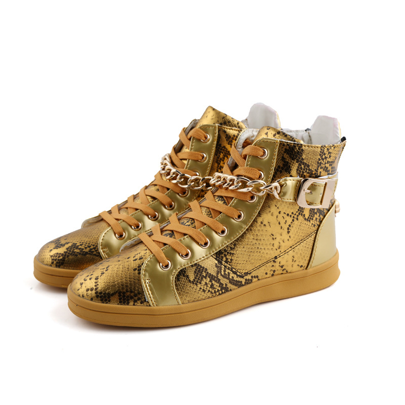 все цены на  Autumn Fashion Rivet chain Studded shoes Leather Punk Rocky Ankle Boots Mens Gold Snake Pattern High Tops Hip Hop Shoes  онлайн