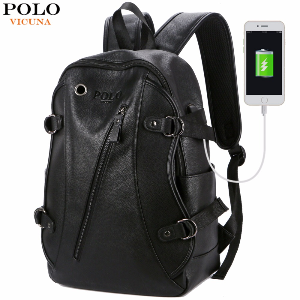 VICUNA POLO Man Leather Casual Brand USB Interface Backpack Bag With Headphone Hole Mens School Travel rucksack Laptop Backpack vicuna polo men leather usb cable travel laptop backpack with headphone hole school backpack has front pocket bagpack mochila