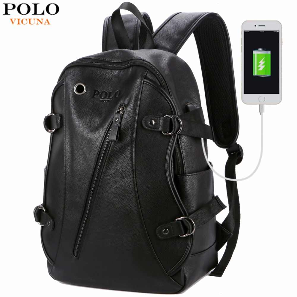 94ae80b43f53 VICUNA POLO Man Leather Casual Brand USB Interface Backpack Bag With  Headphone Hole Mens School Travel